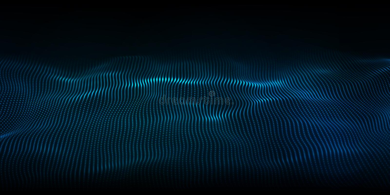 Våg med digital teknik Futuristisk blåvektorillustration Stora data Låga polformpunkter royaltyfri illustrationer