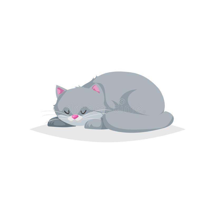 Un chat caricaturé gris mou qui dort Animal de ferme reposant domestique Dessin de familiers Style comique plat Idéal pour l'éduc illustration libre de droits