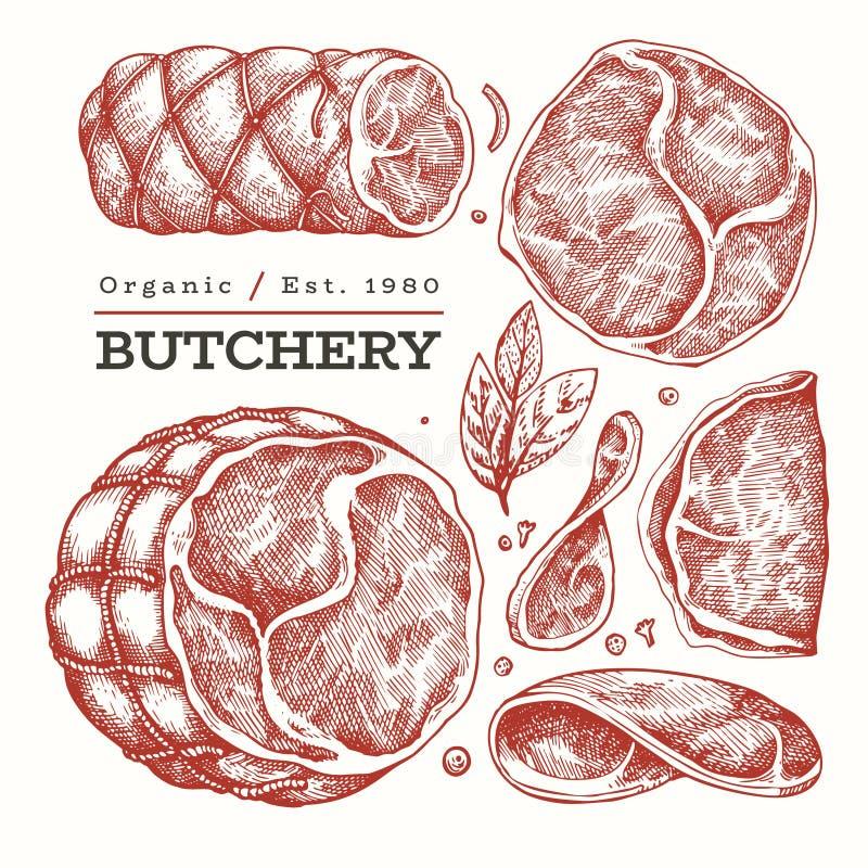Ilustracja mięsa z wektorem winnym Szynka wypatroszona ręcznie, plasterki szynki, przyprawy i zioła Surowe składniki żywności szk ilustracja wektor