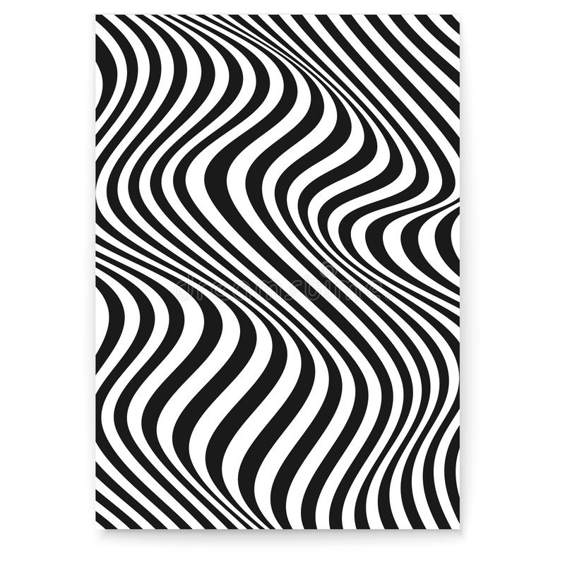 Layout med vågiga linjer Abstrakt skevt duplexbakgrund Mönster från linjer, raster, effekt Svarta och vita moderna royaltyfri illustrationer