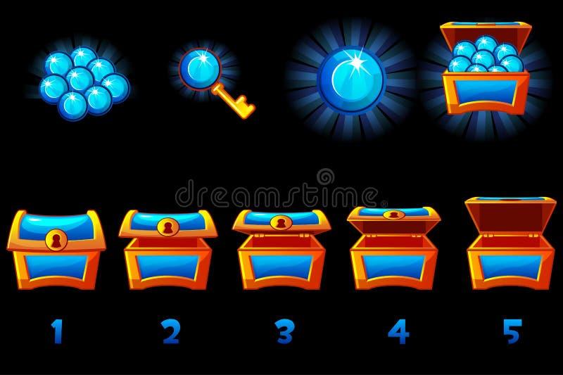 Animerad skattkista med blå ädelgem Steg för steg, full och tom, öppen och stängd ruta Ikoner på separata royaltyfri illustrationer