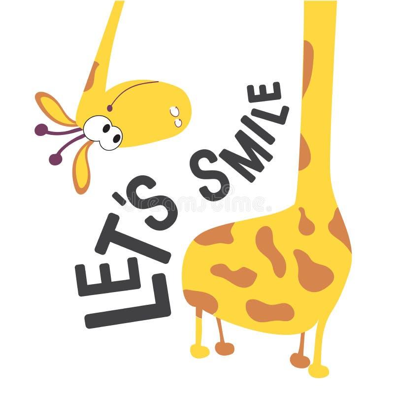 Giraffenkopf und -hals für die Gestaltung von Babywäsche, Textilien, Karten und Büchern Lächeln wir ein positives Motivationswort stock abbildung