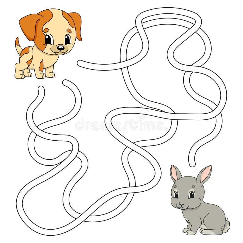 Αστείος λαβύρινθος Παιχνίδι για παιδιά Γρίφοι για παιδιά Στυλ σκίτσων Λαβύρινθος Απεικόνιση διανύσματος χρώματος Εύρεση της σωστή διανυσματική απεικόνιση