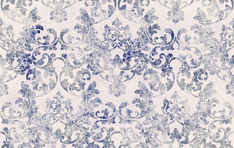 Rococo纹理模式向量 花卉装饰 维多利亚式雕刻复古设计 古格朗基织物装饰 皇族释放例证