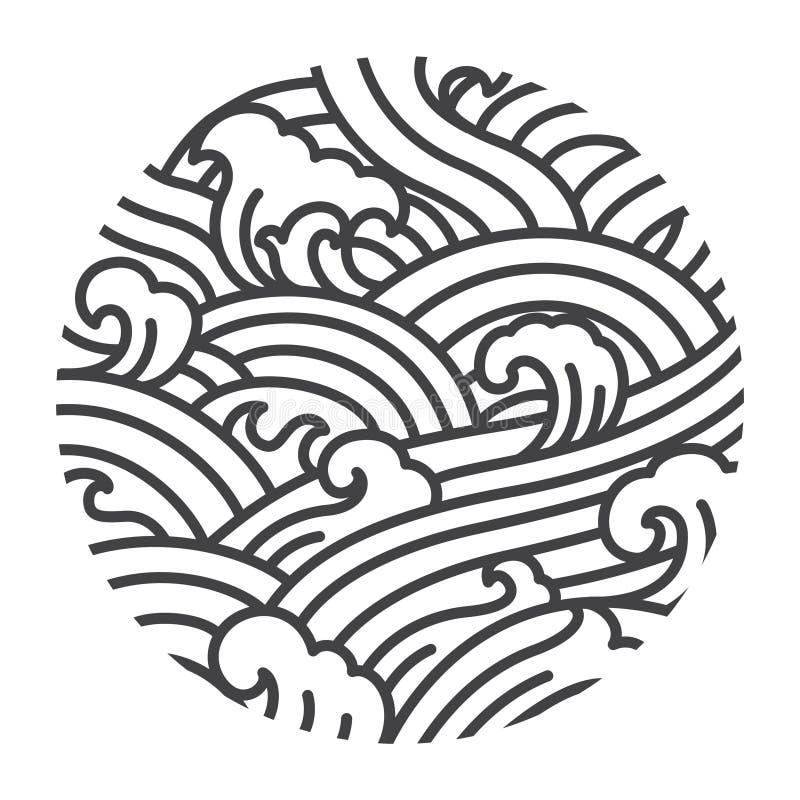 O estilo oriental da onda de água ilustra o vetor Gráfico tradicional de arte de linha Japão Tailandês Chinês ilustração royalty free