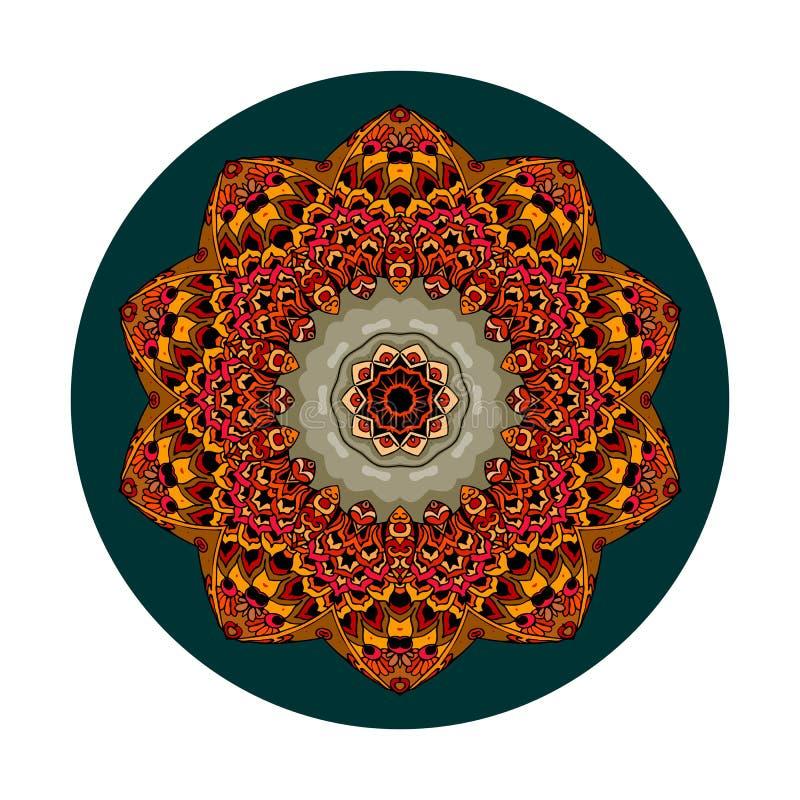 Dekorativ platta med blomma - mandala Rundkramp i etnisk stil Inredningsdesign royaltyfri illustrationer
