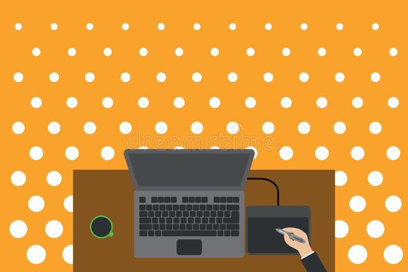 Schreibtisch mit Schreibtisch und Schreibtisch aus Holz Elektronisches Gerät für die menschliche Kaffeetasse Tragbarer Computer stock abbildung
