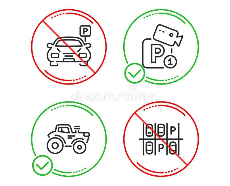 Parksicherheit, Traktor- und Parkplatz-Ikonen Videokamera, Landtransport, Parkplatz Verkehr Vektor vektor abbildung