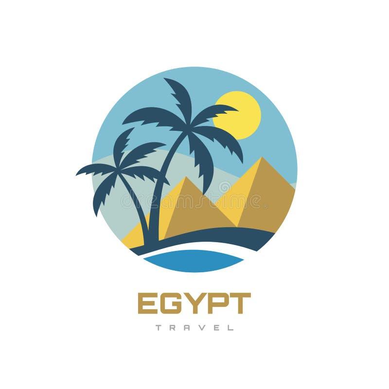 Egypte - landschap met piramiden Het concept van de zomervakantie bedrijfslogo vectorillustratie in vlakke stijl Tropisch paradij vector illustratie