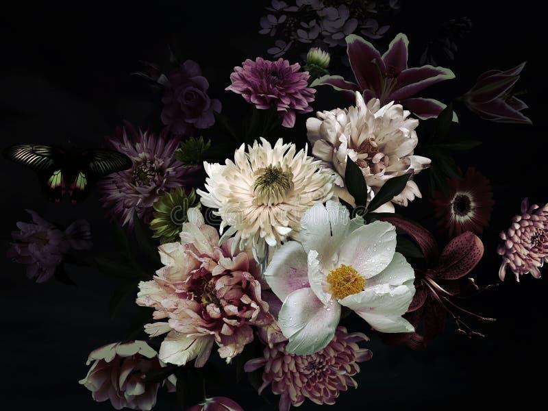 Mooie tuinbloemen en vlindervlieg Peonies, rozen, tulpen en andere Vintage florale kaart royalty-vrije stock afbeeldingen