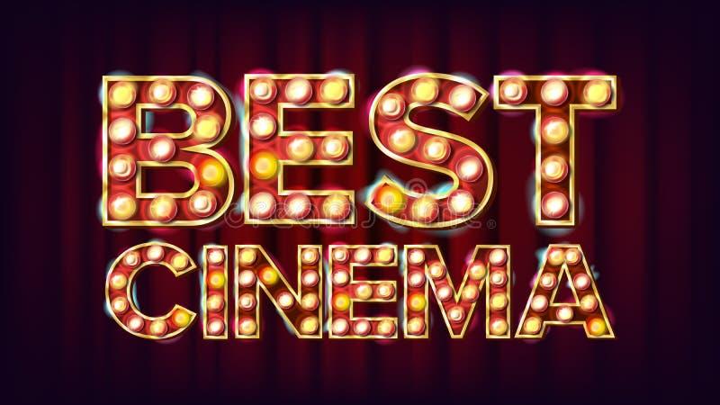 Best Cinema Background Vector Theater Cinema Golden Illumined Neon Light Vintage Illustratie stock illustratie