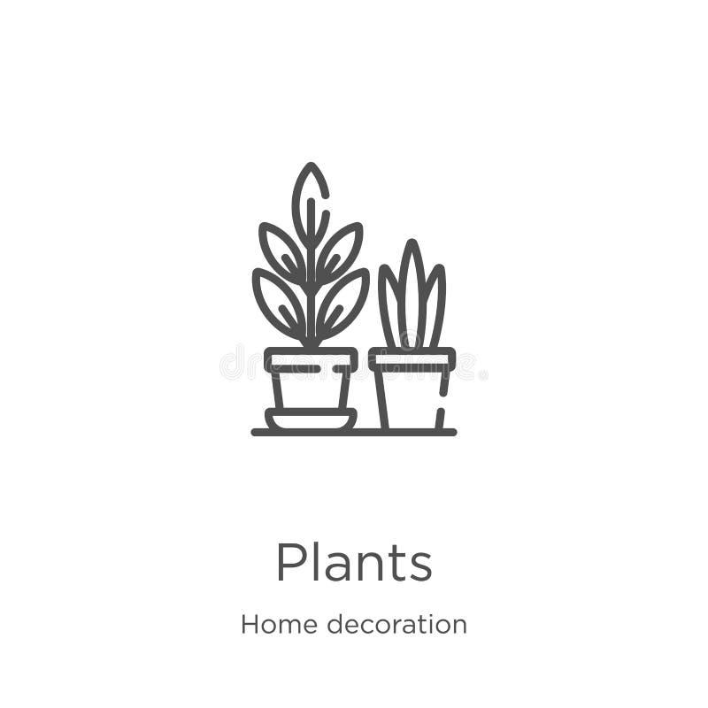 växtesikonvektor från dekorationssamling i hemmet Vektorillustration för konturkonturer för tunna radplantor Outline- och tunna l vektor illustrationer