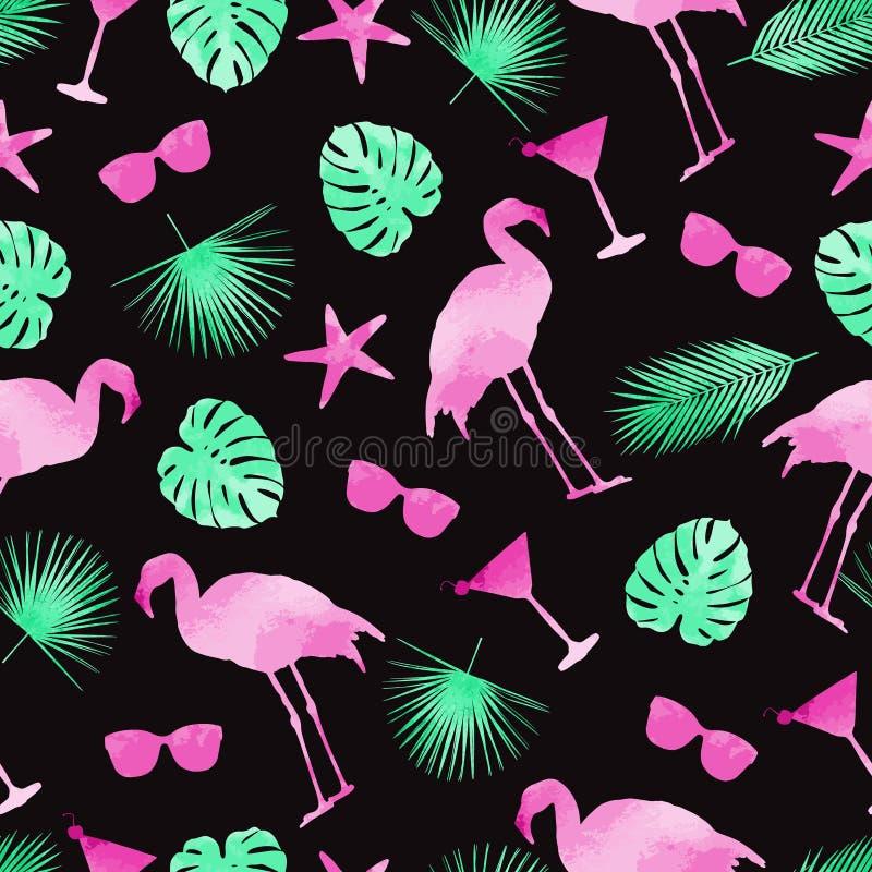 Färgstarka sommarelement, sömlös bakgrund Flamingo, monstera, kackajer och solglasögon Vattenfärg stock illustrationer