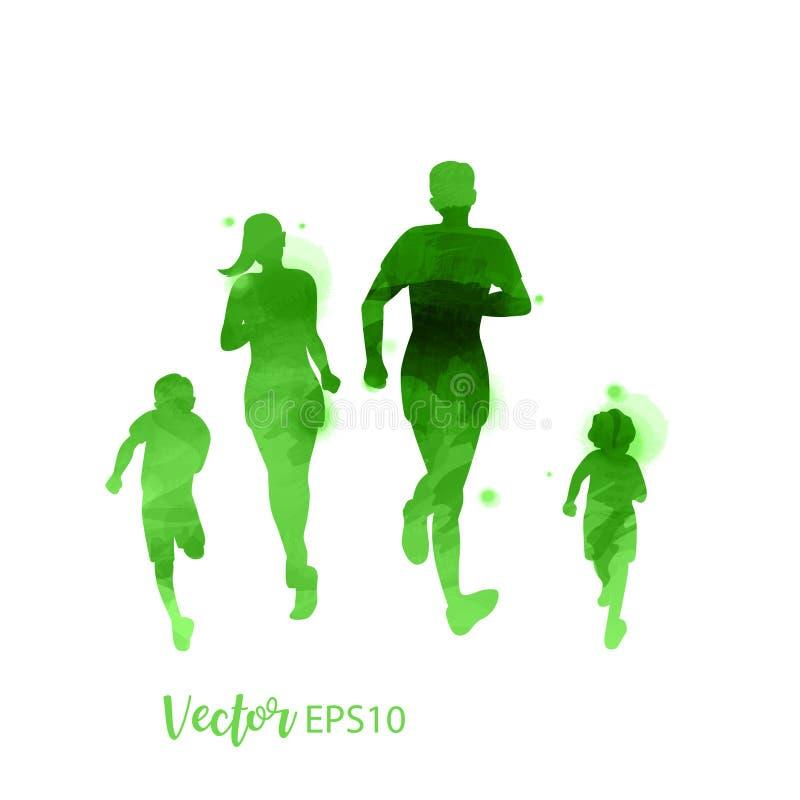 Föräldrar som har gott om tid med sitt barn Glad familj som går samman isolerad på vit bakgrund Vattenfärgsformat Vector stock illustrationer