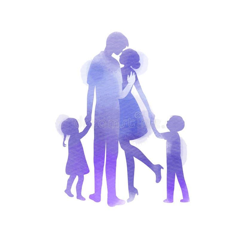 Föräldrar som har gott om tid med sitt barn Glad familj som går samman isolerad på vit bakgrund Vattenfärgsformat stock illustrationer