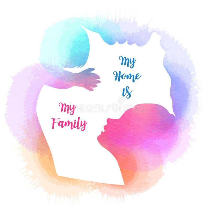 Föräldrar som har gott om tid med sitt barn Glad familj som går samman isolerad på vit bakgrund Vattenfärgsformat Dubbelt royaltyfri illustrationer