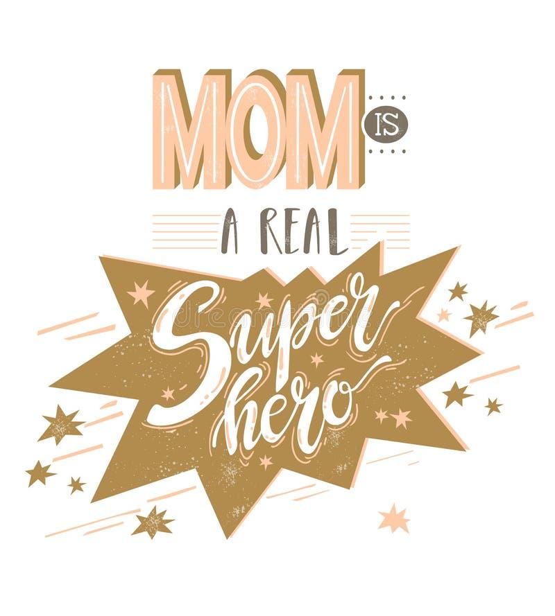 Mam is een echte superheld Comics-opmaaksamenstelling Vec royalty-vrije illustratie