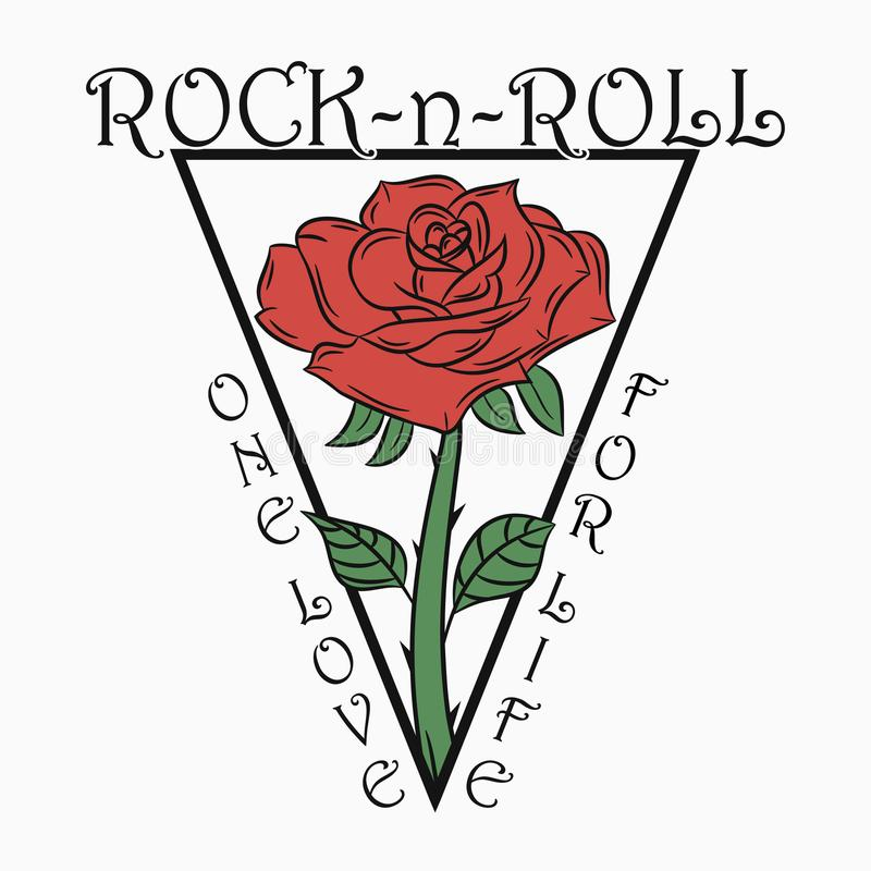 Impression de roches et de rouleaux avec rose. Rock music graphic with - one love for life text. Conception de vêtements, t-shirt illustration libre de droits
