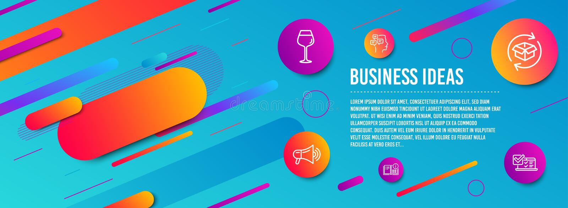 Informations d'instruction, ensemble d'icônes Parcel et Megaphone de retour Bordeaux, vitres, messages et panneaux d'arpentage en illustration stock