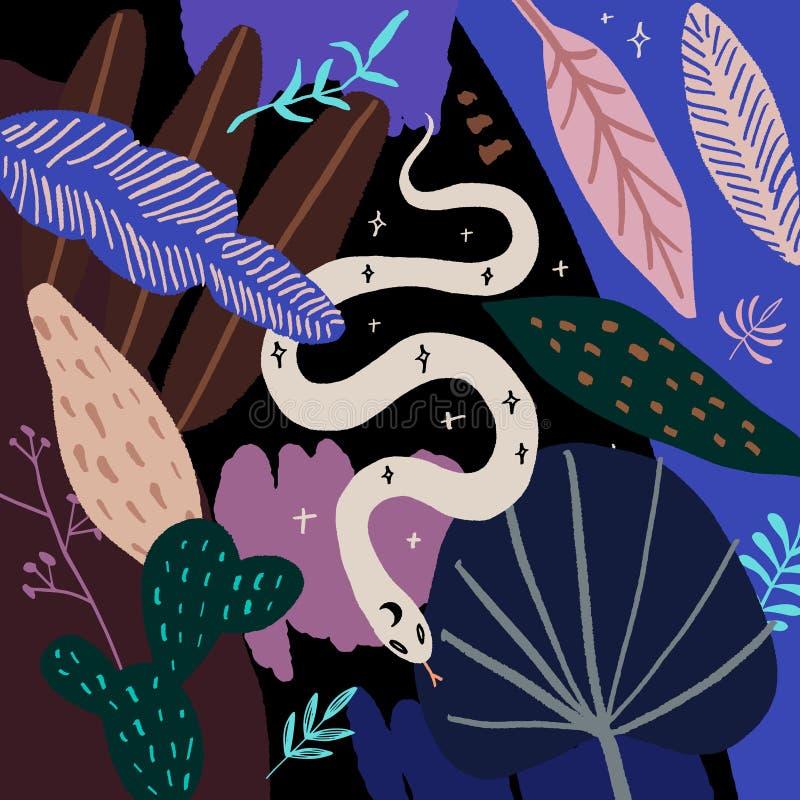 Serpent à main L'art abstrait moderne et isolé du reptile tropical Vecteur illustration libre de droits