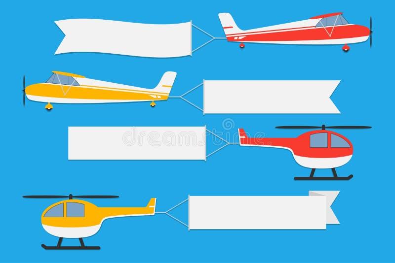 Vliegvliegtuigen en helikopters met banners Reeks reclamelinten op blauwe achtergrond Vector vector illustratie