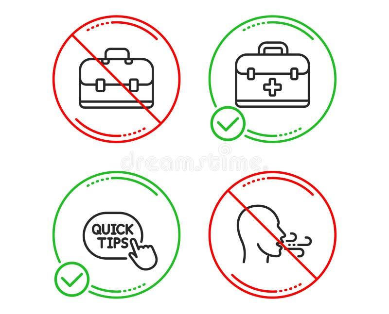 Juego de iconos de primeros auxilios, consejos rápidos e iconos de cartera Signo de ejercicio respiratorio Vector ilustración del vector