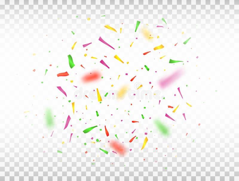 Helderkleurig confetti geïsoleerd op transparante achtergrond Afgebroken kleurconfetti Vectorillustratie royalty-vrije illustratie