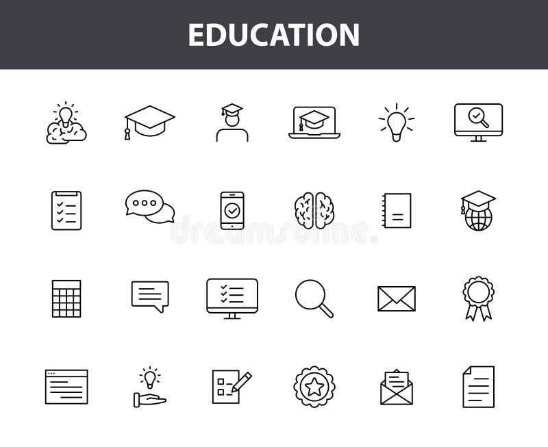 Reeks van 24 de Webpictogrammen van het Onderwijs en van het Leren in lijnstijl School, universiteit, lesboek, leren Vectorillust stock illustratie