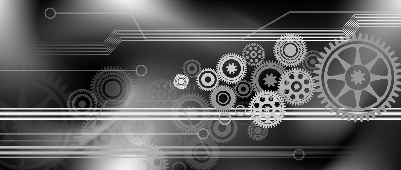 Technologieversnellingen voor cogs-achtergrondintegratie achtergrond van technologiebanner vectorillustratie vector illustratie