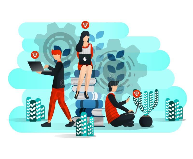 Online leren met internet en laptop, studenten studeren rond de stapel boeken Onderwijs 4 Vectorillustratie voor web royalty-vrije illustratie