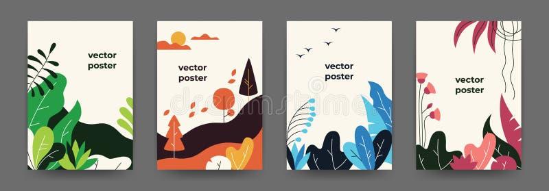 Platte plantenposters Gradiënt abstracte geometrische banners met de florframes van de exemplaarruimte, jungle bladeren en plante stock illustratie