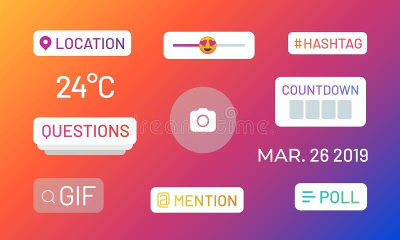 Encuestas de historias en Instagram Iconos de medios sociales y stickers funcionales, ubicación de etiquetas mencionan deslizador ilustración del vector