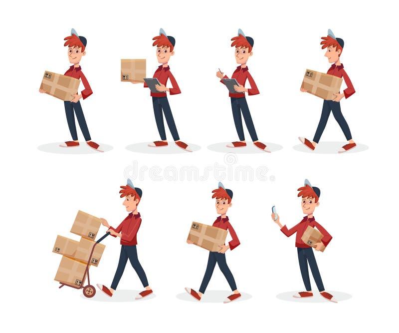De REEKS van de Leveringsmens met de doos van het kartonpakket in verschillend stelt Het snelle concept van de Leveringsdienst do vector illustratie