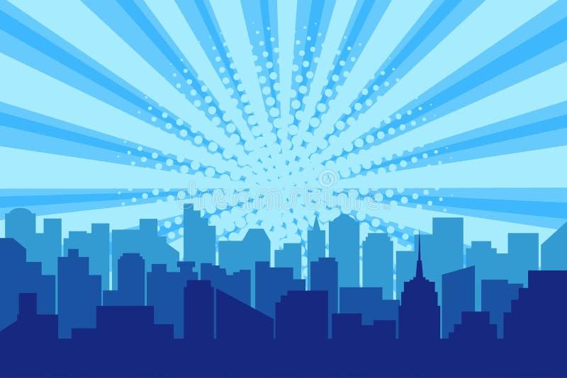 Silueta cómica de la ciudad con el fondo de semitono de los rayos del sol Paisaje urbano del arte pop en colores azules con el co libre illustration