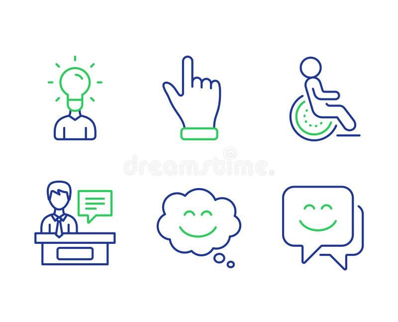 Charla de la sonrisa, sistema de los iconos de la mano de la incapacidad y del tecleo Muestras de la cara de los expositores, de  stock de ilustración