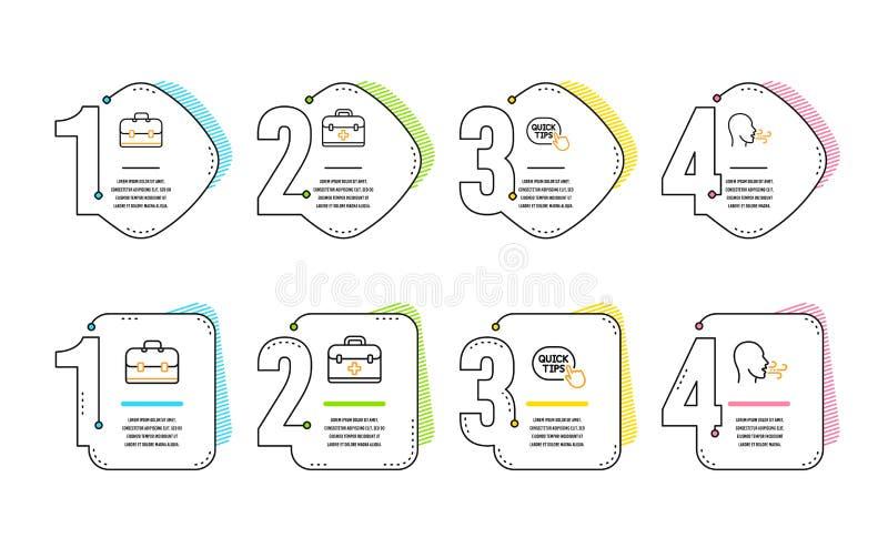 Juego de iconos de primeros auxilios, consejos rápidos e iconos de cartera Signo de ejercicio respiratorio Vector libre illustration