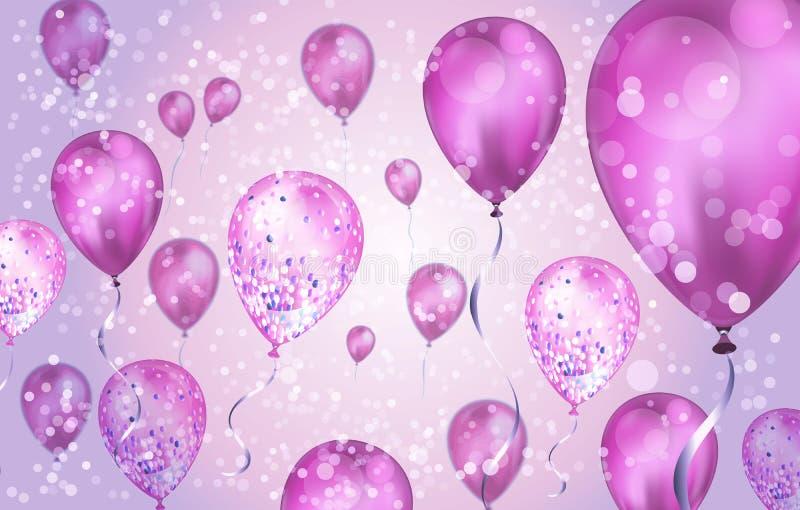Eleganter rosafarbener Helium-Balloons mit Bokeh-Effekt und glänzender Hintergrund für Hochzeit, Geburtstag und Jahrestag Vektor lizenzfreie stockfotografie