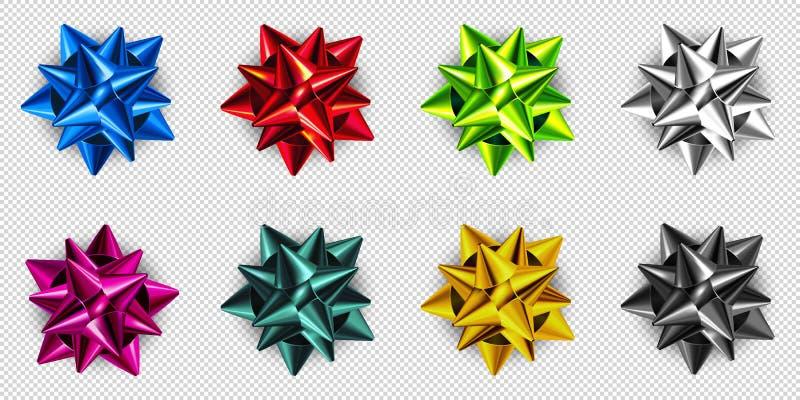 Realistischer Geschenkband Sammlung dekorativer Blau-, Rot-, Grün-, Silber-, Rosa-, Gold- und Schwarzbögen 3D-Vektor lizenzfreie abbildung