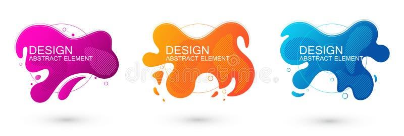 Uppsättning abstrakta flytande formgrafiska element Färggradientvätskedesign Mall för presentation, logotyp, banderoll Vektor il stock illustrationer