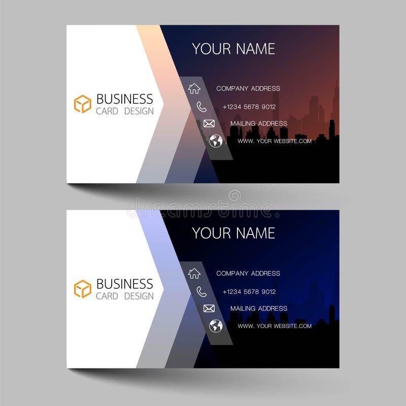 Visitenkarten entwerfen zwei Farben auf grauem Hintergrund Inspiriert durch Bauwerke Kontaktkarten für Unternehmen Vektorbild vektor abbildung