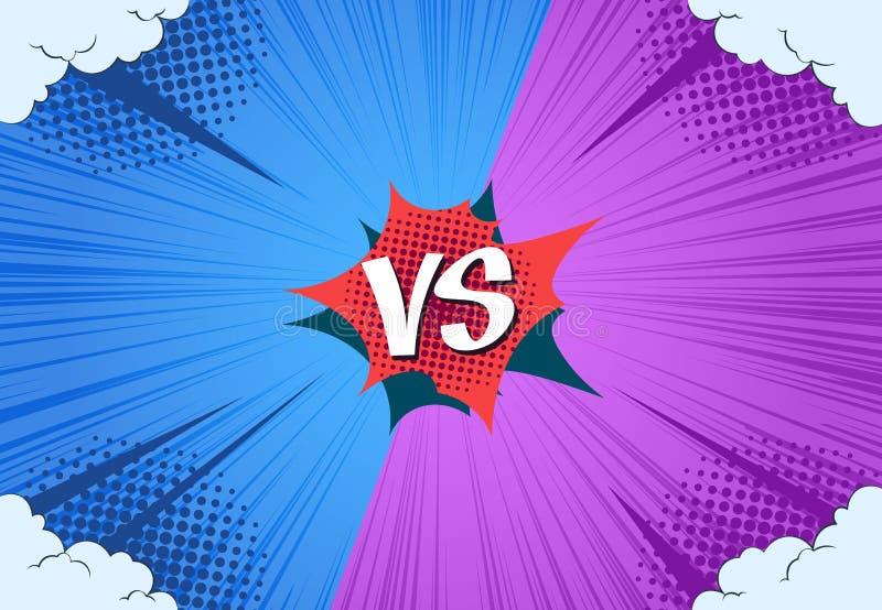 Comics VS-bakgrund Versus match book-sida, åtgärdsutmaning, abstrakt rasterritning Vector kontra stock illustrationer