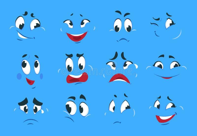 Funna serieuttryck Ondska arga ansikten av tokiga teckningar roliga leende serietidning Vector royaltyfri illustrationer