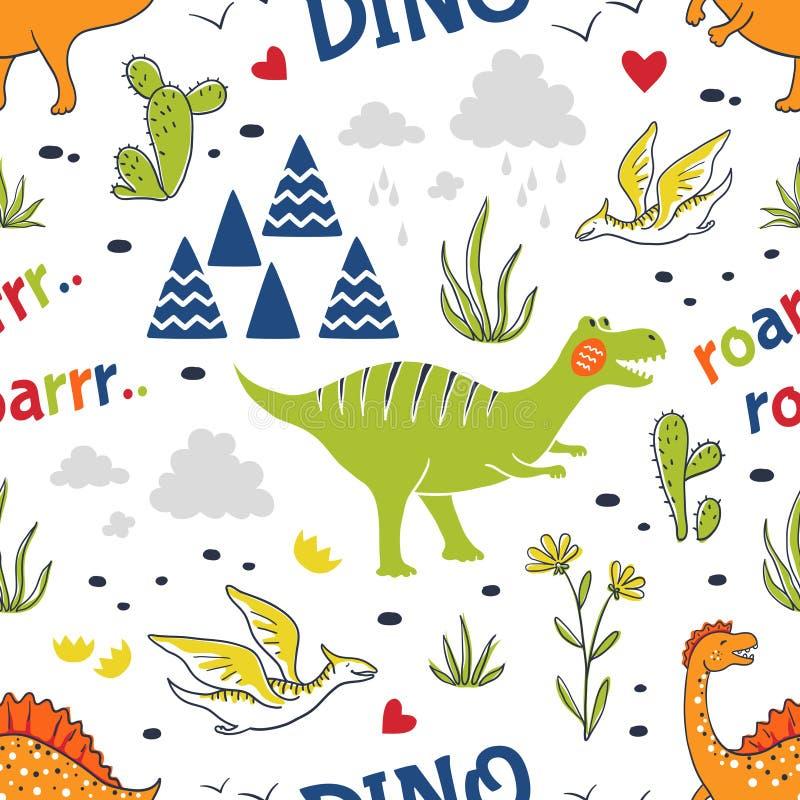 Doodle dinosaur-mönster Sömlösa tygmärken, trendhand ritad textildesign, söta, barnsliga drakar Vector stock illustrationer