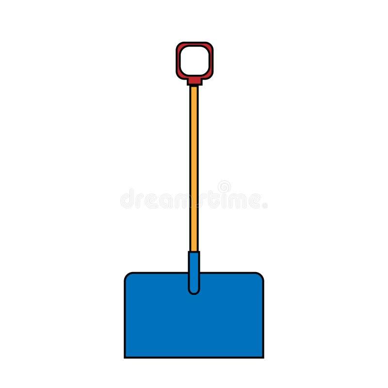 Symbol für den Bau einer schönen Schaufel mit einem Holzgriff für die Reinigung von Schnee Gartenschneefräse auf weißem Grund Vek lizenzfreie abbildung