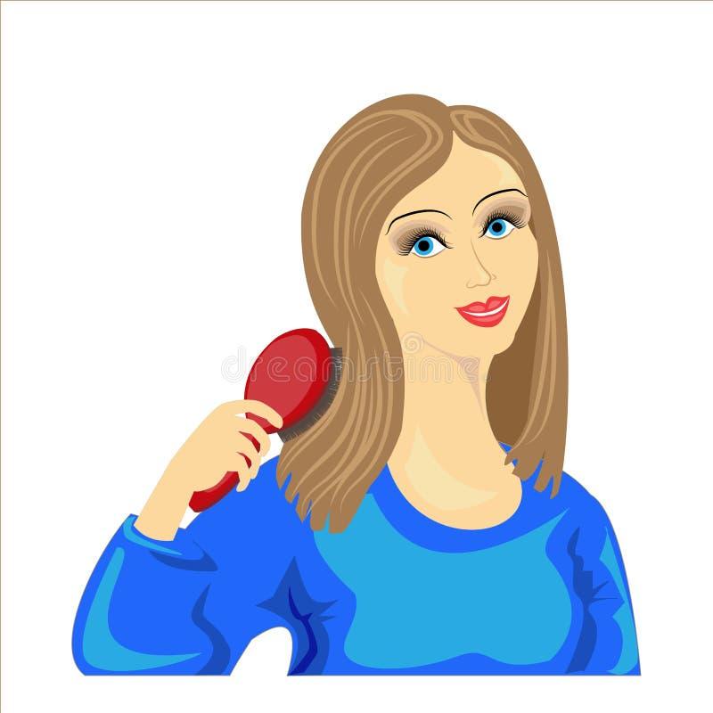 Bild av en vacker ung dam En söt, glad flicka i en blå tröja tar hand om hennes hår De är rättvisa och hälsosamma Vector royaltyfri illustrationer