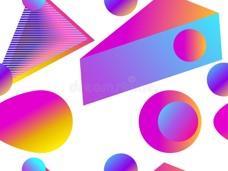 Geometrisk sömlös modell med vätskelutning på en vit bakgrund Trianglar, cirklar och punkter vektor royaltyfri illustrationer