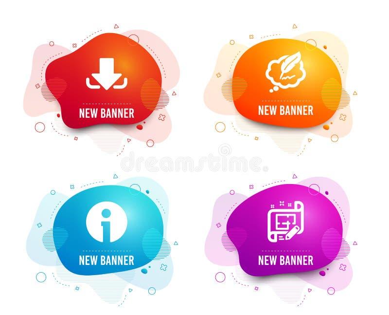Ikoner för hämtning, chatt till upphovsrätt och information Arkitektplanens tecken Läs in fil, pratbubbla, information Vector stock illustrationer