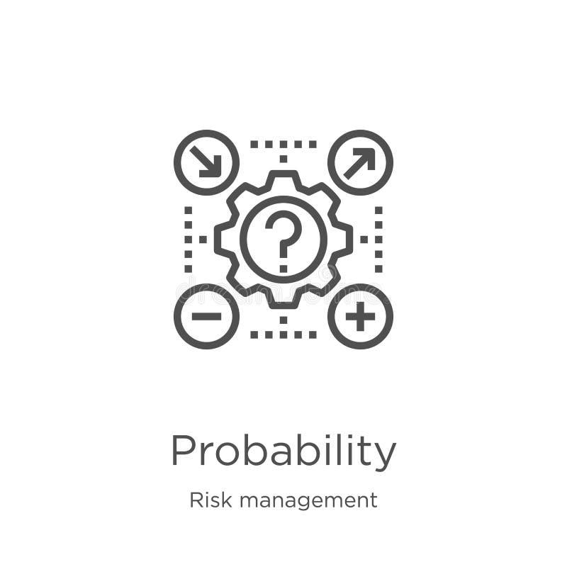 sannolikhetsikonvektor från riskhanteringssamling Vektorbild för konturkontur för tunn radsannolikhet Disposition, tunn royaltyfri illustrationer