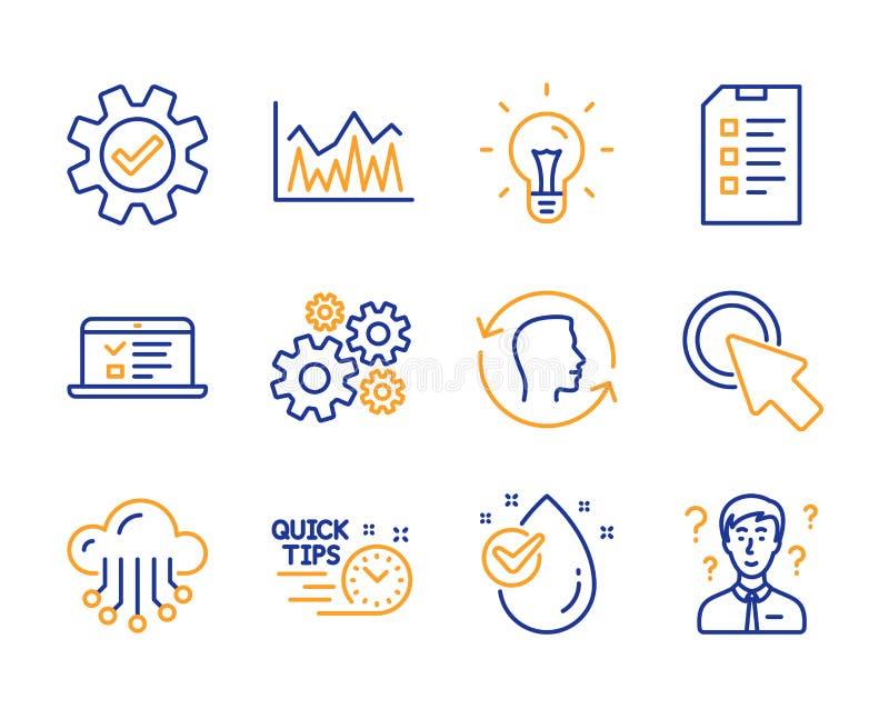Conjunto de ícones de checklist, investimento e armazenamento em nuvem Clique aqui, Cogalgo e placas de serviço Vetor ilustração do vetor