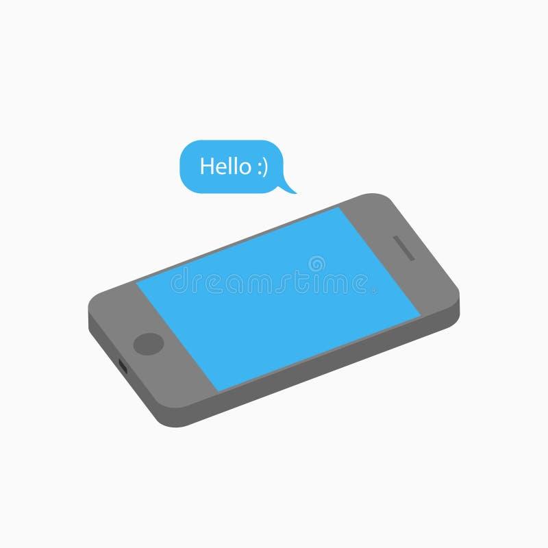 Telefonia mobile 3D e messaggio - Salve Smartphone isometrico con bolla vocale Notifica SMS Vettore illustrazione vettoriale